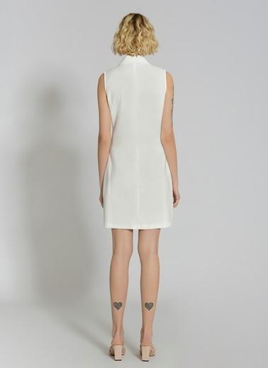 People By Fabrika Ceket Yaka Elbise Beyaz